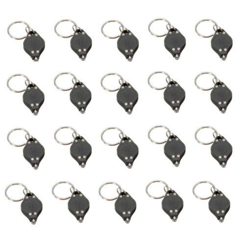 20x Mini Bright White Keychain LED Light Lamp Key Ring Flash Flashlight Torch US