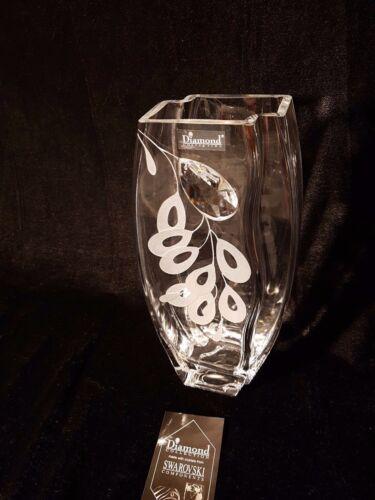 Valentines day gift Vase Elegant Swarovski Crystal /& Sandblasted Gift present