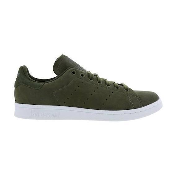 Para Hombre Adidas Stan Smith Entrenadores De Cuero verde Oliva BB6331