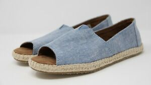 b949b14d71e Toms Women s Espadrilles Alpargata Open Toe Shoes Blue Slub Chambray ...
