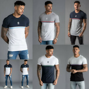 Gym-King-Mens-Short-Sleeve-Crew-Neck-Block-Panel-Taped-New-Slim-Fit-T-shirt-Tee