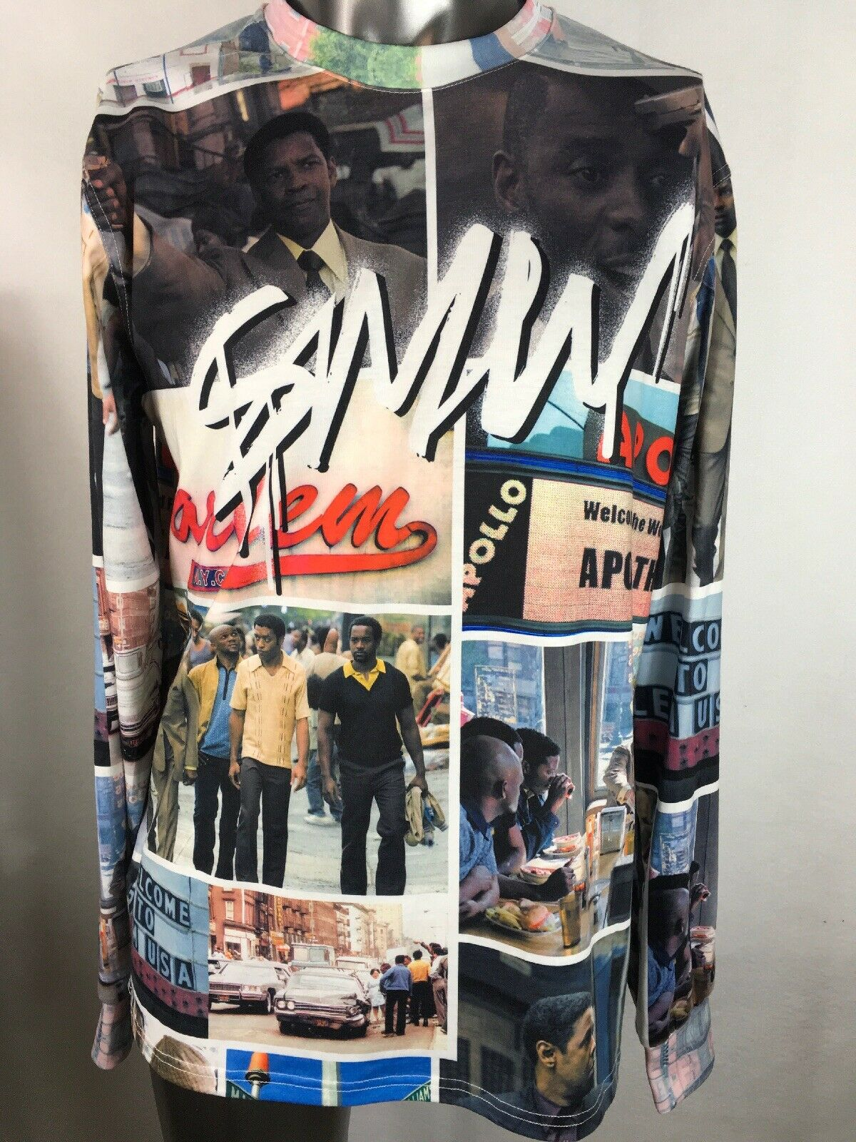 Denzel Washington American Gangster Movie Collage Graphic Long Sleeve Shirt L