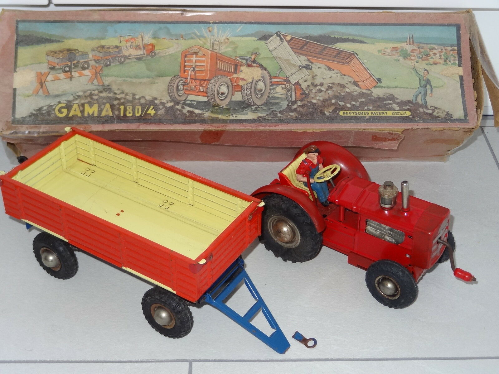 GAMA West Germany 50's TRACTOR AND TRAILER - 180 4 BOXED
