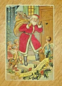 Antique 1912 Santa w/ Sack of Toys & Cherubs Embossed Post Card Made In Germany
