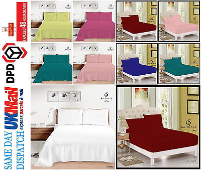 Plain Dyed Fitted Sheets/&Flat Sheets or Pillowcases Single Double King All Sizes