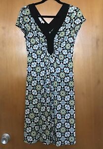 Maggy-London-Womens-Dress-8-Stretch-Jersey-V-Neck-Floral-Black-Blue-Green-Ruched