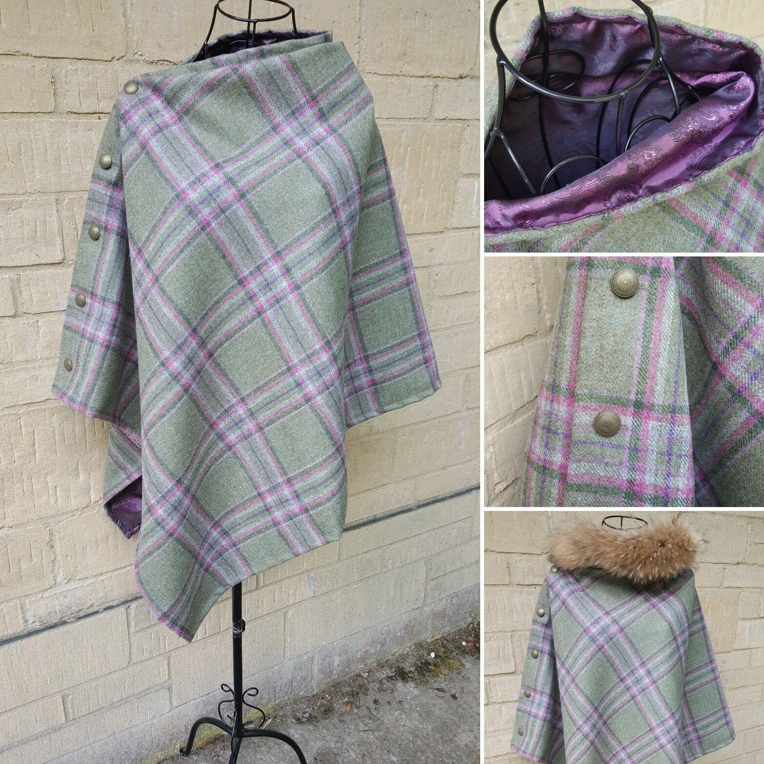 Beautiful Tweed poncho cape greens raspberry purples, paisley satin lining.