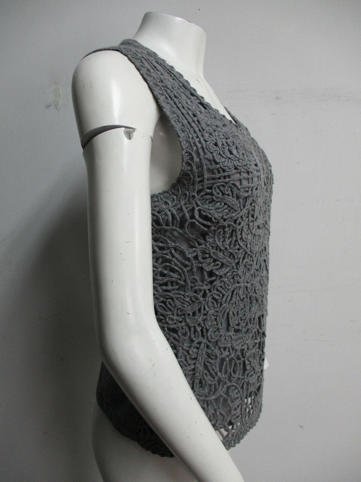 ESCADA grey crochet sweater vest sz L - image 2