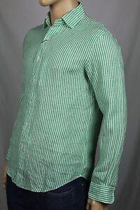 Polo Ralph Lauren Green Cream Striped Classic Linen Dress Shirt NWT
