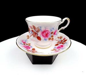 QUEEN-ANNE-8521-PINK-ROSES-AND-LEAVES-2-3-4-034-FOOTED-CUP-AND-SAUCER-SET