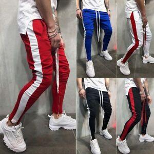 MEN-HIPSTER-Jogger-Gym-Workout-TRACK-SIDE-COLOR-STRIPE-TRACK-ANKLE-ZIP-PANTS