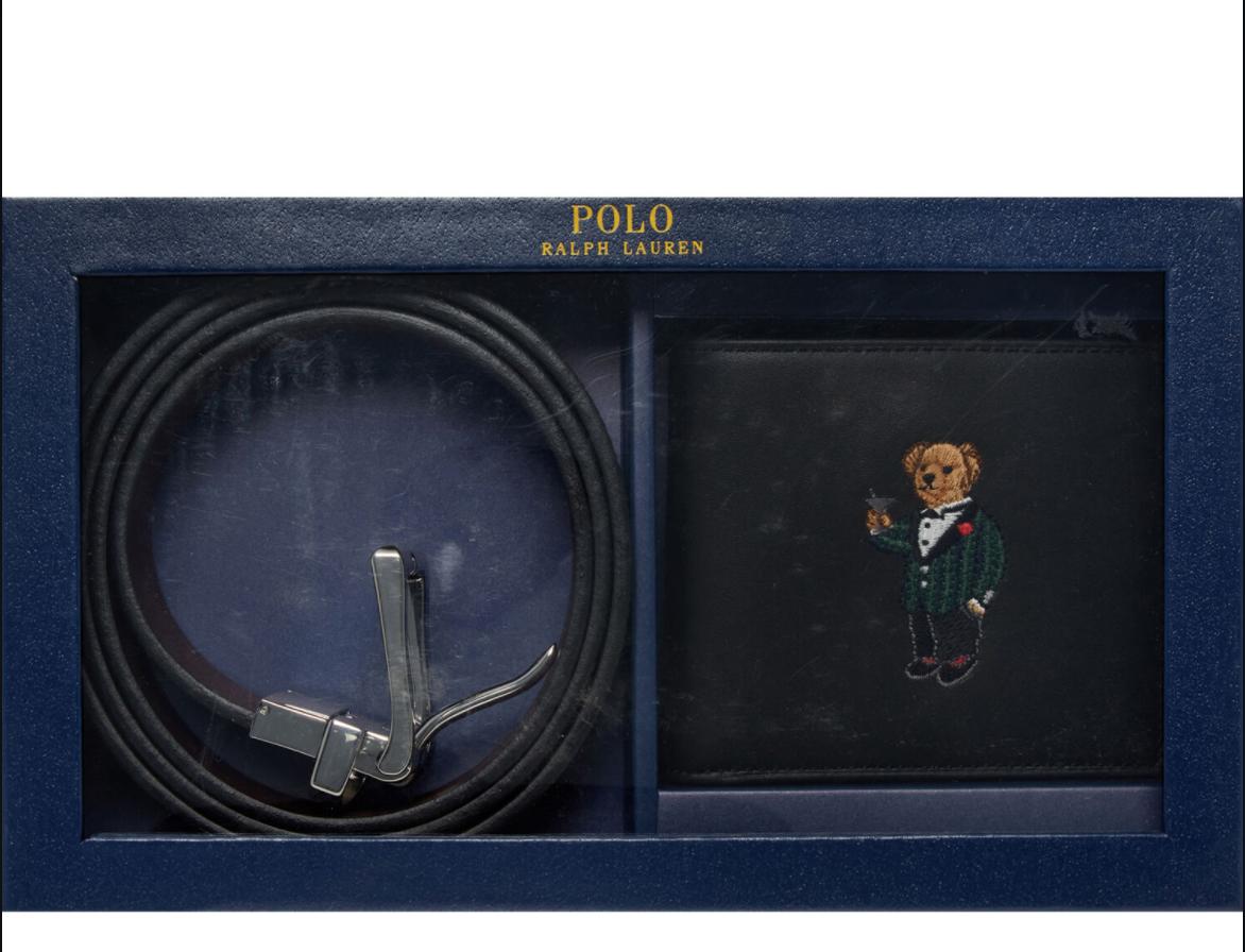 Polo Ralph Lauren Leather Martini Polo Bear Wallet & Belt Set Black & Brown