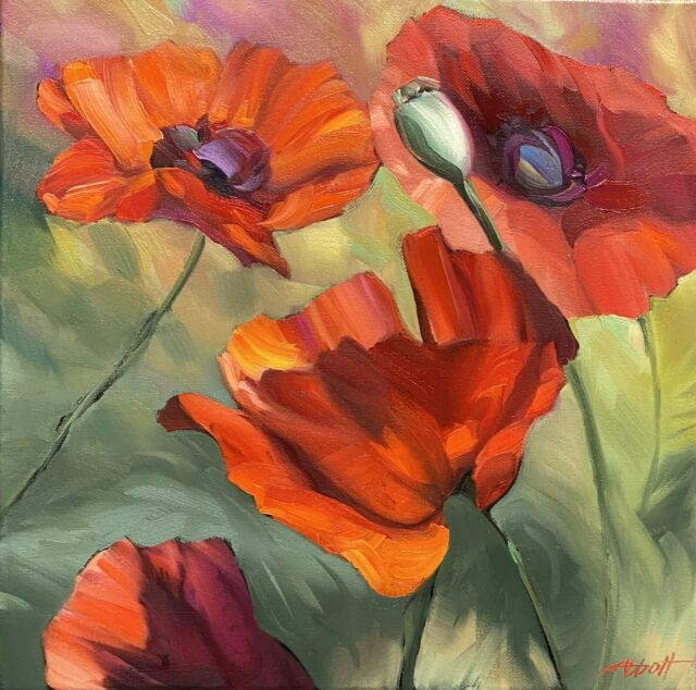 """Abbott Oil Stretch Canvas 14""""x14"""" Ruby Red Poppies Growing In The Golden Fields"""