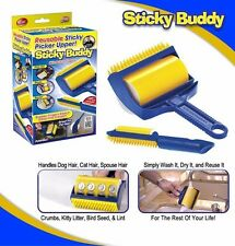 1 set Sticky Buddy Picker Cleaner Lint Roller Pet Hair Remover Brush Reusable