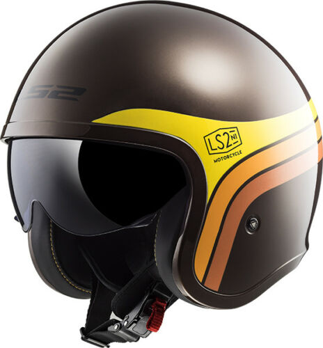 Ls2 Of599 Spitfire Sunrise Braun Retro Jethelm Low Profile Motorrad Helm