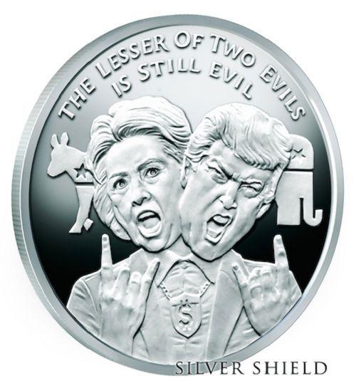 2016 1 oz Proof Lesser Evil Trump Hillary SILVER SHIELD GROUP  ! SSG 777