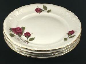 Set-of-4-Royal-Kent-RED-ROSES-Flower-6-3-4-034-Bread-and-Butter-Plates-Poland