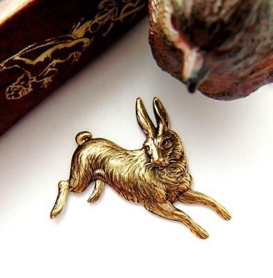 ANTIQUE BRASS Round Vintage Rabbit Stamping ~ Jewelry Ornament Findings ~ Oxidized Brass CA-3034