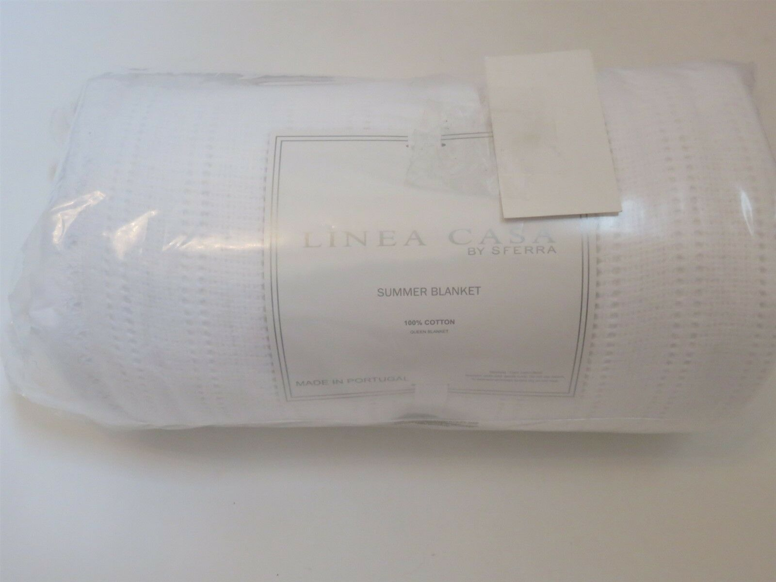 Sferra Linea Casa White ruffled Summer Queen Bed Blanket White New