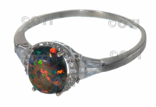 Large Oval Cut Moon Black Fire Opal White Sapphire Baguette Sterling Silver Ring