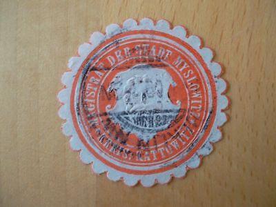 14999 Siegelmarke Magistrat Der Stadt Myslowitz Gut FüR Energie Und Die Milz