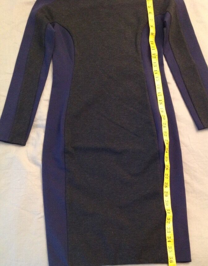 Phillip Lim Dress Dress Dress Runway Bodycon bluee & Grey Long Sleeve Stretch Mini US Sz 2 e17d2a