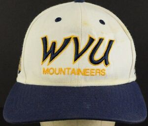 WVU Mountaineers White Blue Baseball Hat Cap with Cloth Strap Adjust ... 225b6f67513