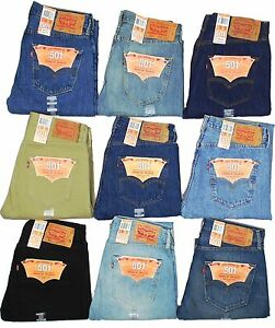 Levis-501-Button-Fly-Mens-Jeans-Authentic-Many-Colors-Many-Sizes-New-With-Tags