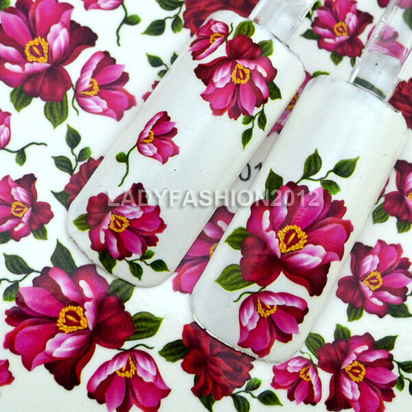 Beauty 3D Design Rose Flowers Water Transfer Nail Art Stickers Decals Tips C17#