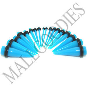 V039-Acrylic-Turquoise-Blue-Stretchers-Tapers-Expanders-Gauges-Plugs-Set-Kit