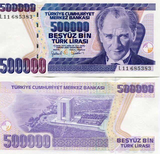 Turkey 500,000 Lira P212 L Prefix 1970 ND(1998) UNC Money Ataturk Lira Banknote