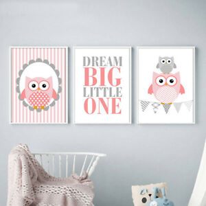 Details About Owl Cartoon Poster Nursery Wall Art Canvas Prints Baby Living Room Decor