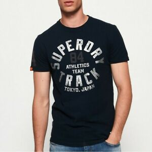 T shirt Superdry manches courtes homme Track & field metallic éclipse navy