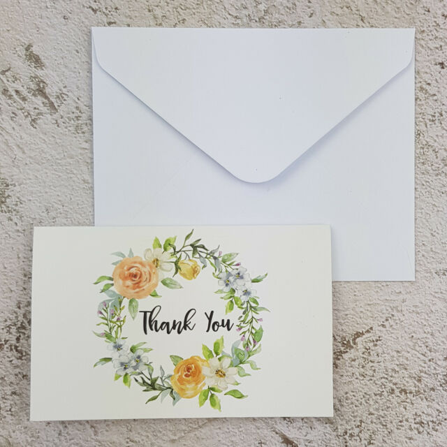 24x Thank You Paper Cards Stock 10x6.5CM Wedding Florist Place Card Note