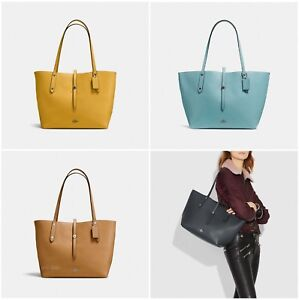 b58db2a2d6 Image is loading New-Coach-58849-Market-Tote-Polished-Pebble-Leather
