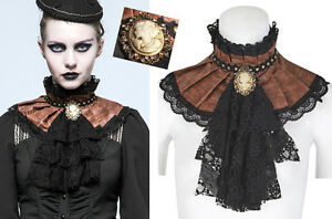 EN-STOCK-Col-jabot-collerette-steampunk-gothique-baroque-cuir-dentelle-PunkRave