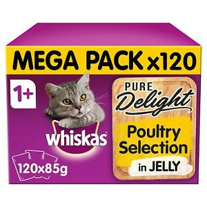120 x 85g Whiskas Pure Delight 1+ Adult Cat Food Pouches Mixed Poultry in Jelly