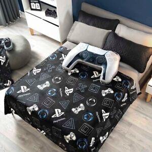 DreamPartyWorld Playstation Videogame Blanket Light Throw Boy Black Teens Queen Comforter Bedding Controller Cushion 2 PCS