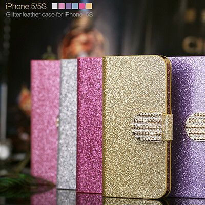 Bling Flip Glitter Leather Card Magnetic Case Cover Wallet For Apple IPhone4s 5s