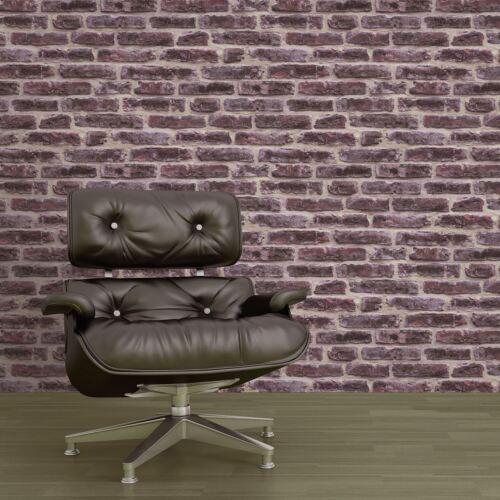 J34408 Ugepa Gris Neuf Rouge Rustique Mur de Briques Papier Peint