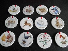 Royal Worcester Wrendale 12 Days Of Christmas Decorations For Sale