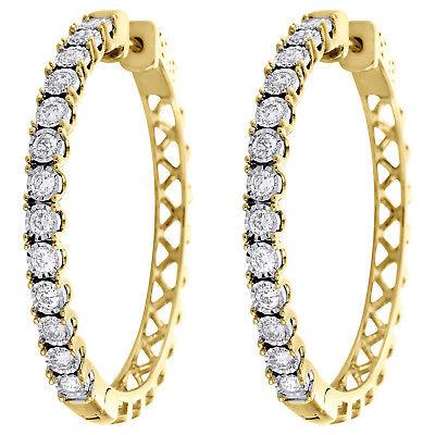 HOOP EARRINGS 10KT GOLD FANCY 25MM ROUND DIAMOND CUT HOOP EAR