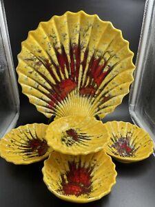 McCoy Pottery MCP Seashell Serving Set~Platter~4 Bowls~Yellow~Red~901, 902
