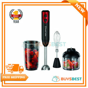 Russell-Hobbs-Hand-Blender-Mixer-400W-Desire-3-in-1-Chopper-Whisk-Black-amp-Red