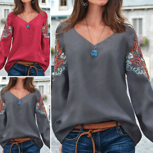 Women-Long-Sleeve-Blouse-Floral-Holiday-Retro-Tops-Party-Club-Shirt-Tee-Pullover