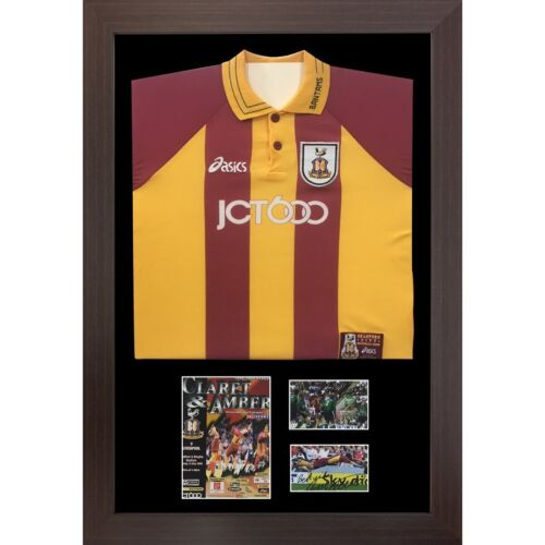 "DIY Football Shirt Frame with Football Program and 2x6"" x 4"" photos Black Mount"