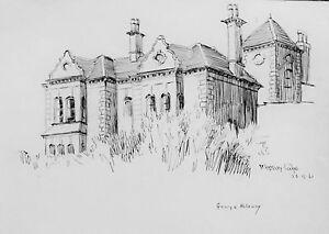 GEORGE HOLLOWAY - WESTBURY LODGE- LISTED ARTIST DRAWING.1961 - FREE SHIP !!!
