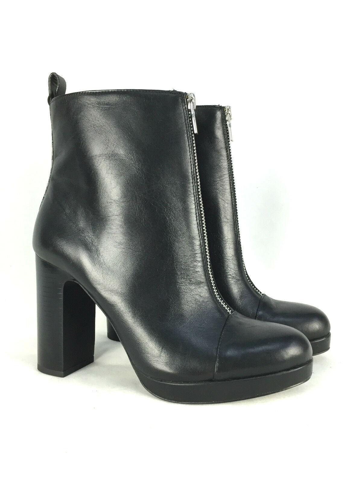 ZARA Negro LEATHER ZIP ANKLE botas 39 Talla EUR 37 38 39 botas 40 ad3468