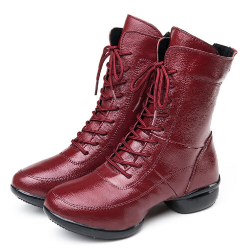 New Womens Leather Heighten Short Boots Jazz Square Dance Shoes Mid-calf Boots