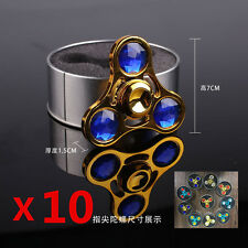 Wholesale 10pcs/lot New Rhinestone Diamonds Metal Hand Fidget Finger Spinner Toy
